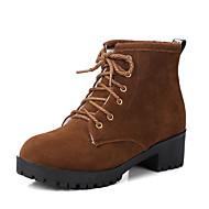 baratos Sapatos Femininos-Mulheres Camurça Outono & inverno Doce / Minimalismo Botas Salto de bloco Dedo Fechado Botas Cano Médio Preto / Cinzento / Marron