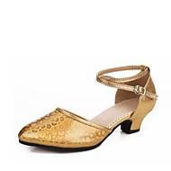 billige Moderne sko-Dame Moderne sko Syntetisk Høye hæler Tykk hæl Kan spesialtilpasses Dansesko Gull / Sølv / Rød