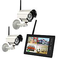 "cheap DVR Kits-Wireless 4CH Quad DVR 2 Cameras with 7"" TFT-LCD Monitor Home security system"