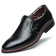 tanie Obuwie męskie-Męskie Komfortowe buty Mikrowłókno Zima Casual Mokasyny i buty wsuwane Zatrzymujący ciepło Czarny / Brązowy / Impreza / bankiet