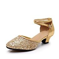 billige Moderne sko-Dame Moderne sko Syntetisk Sandaler Strå Tykk hæl Kan spesialtilpasses Dansesko Svart / Sølv / Rød