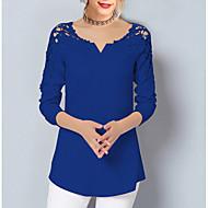 V-hals Store størrelser Bluse Dame - Ensfarget, Blonde Grunnleggende / Blonder