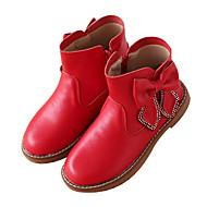 baratos Sapatos de Menina-Para Meninas Sapatos Pele Inverno Botas da Moda Botas Laço / Ziper para Infantil Preto / Vermelho / Rosa claro / Botas Curtas / Ankle