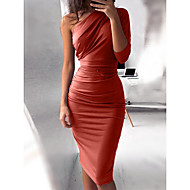 cheap -Women's Party / Club Basic Slim Bodycon Dress - Solid Colored Pleated High Waist One Shoulder Fall Purple Wine Army Green L XL XXL / Sexy