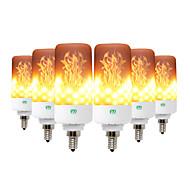 billige Globepærer med LED-ywxlight® 6pcs kreative 3 moduser flamme lys e26 / e27 e12 e14 b22 led flammeffekt brannpære 5w flimrende emulering dekor lampe