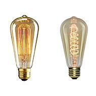 billige Glødelampe-2pcs 40 W E26 / E27 ST64 Varm hvit 2200-2700 k Kontor / Bedrift / Mulighet for demping / Dekorativ Glødende Vintage Edison lyspære 220-240 V