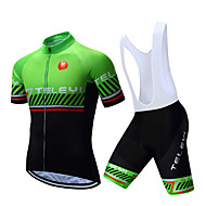 TELEYI Men's Short Sleeve Cycling Jersey with Bib Shorts - White Black Stripes Bike Clothing Suit Breathable Quick Dry Sports Polyester Stripes Mountain Bike MTB Road Bike Cycling Clothing Apparel