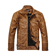 Men's Daily / Weekend Winter Regular Leather Jacket, Solid Colored Long Sleeve PU Classic Black / Yellow / Brown XL / XXL / XXXL