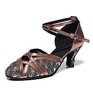 billige Moderne sko-Dame Moderne sko Syntetisk Høye hæler / Joggesko Blonder / Glimmer Kubansk hæl Kan spesialtilpasses Dansesko Sølvgrå / Mørkebrun