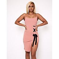 Kadın's Dışarı Çıkma Sokak Şıklığı İnce Kılıf Elbise - Solid, Bölünmüş Bağcık Askılı Diz üstü / Sexy