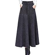 kvinnors midi en linje kjolar - solid färgad