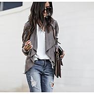 Damen Alltag Herbst Winter Standard Jacke, Solide Coiled Gola Langarm Acryl / Polyester Braun / Grau L / XL / XXL