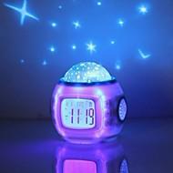 billige Veggklokker-musikk stjernehimmelen projeksjon vekkerklokke snooze digitalt ledet vekkerklokke kalender termometer projeksjonslys