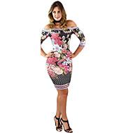 Femme Epaules Dénudées Fleur Sortie Elégant Au dessus du genou Mince Gaine Robe - Imprimé, Fleur Epaules Dénudées Printemps Eté Rose Claire M L XL Manches Longues / Sexy