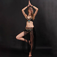 cheap -Belly Dance Outfits Women's Training / Performance Polyester Tassel / Paillette Sleeveless Dropped Bra / Waist Accessory