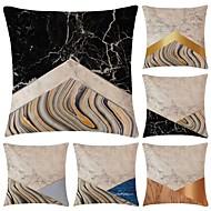6 pcs Coton / Lin Taie d'oreiller, simple Géométrique simple Géométrique