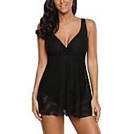 Kadın's Temel Boyun eğme çizgisi Siyah Bandeau Yüksek Bel Tankini Mayolar - Solid Arkasız XL XXL XXXL Siyah / Sexy