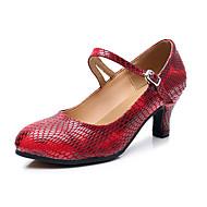 billige Moderne sko-Dame Moderne sko Nappa Lær Høye hæler Kubansk hæl Kan spesialtilpasses Dansesko Mørkerød