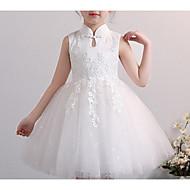 Enfants Fille Basique Couleur Pleine Manches Longues Robe Blanc