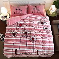 billige Blomstrete dynetrekk-Sengesett Blomstret / Moderne Polyester Reaktivt Trykk 4 delerBedding Sets