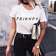 Naisten Ohut Puuvilla Yhtenäinen / Kirjain T-paita Valkoinen L