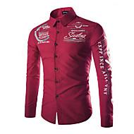 cheap -Men's Basic Plus Size Shirt - Letter Print / Long Sleeve / Spring / Fall / Spread Collar