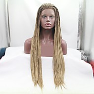 Synthetic Lace Front Wig / Dreadlocks / Faux Locs Plaited Style Layered Haircut Lace Front Wig Golden Light Brown Synthetic Hair 24 inch Women's Women / Ombre Hair / Plait Hair Golden / Brown Wig Long