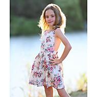 子供 / 幼児 女の子 かわいいスタイル 日常 フラワー レース / レースアップ / プリント ノースリーブ ポリエステル ドレス ホワイト