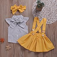 Bebis Flickor Aktiv Dagligen Prickig Spetsknuten Kortärmad Normal Bomull / Polyester Klädesset Gul