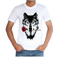 Men's Slim T-shirt - Animal Round Neck / Short Sleeve