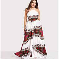 Жен. Большие размеры Хлопок С летящей юбкой Платье Хальтер Макси / Сексуальные платья