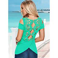 Majica s rukavima Žene - Osnovni Dnevno Jednobojni Čipka Crn XL
