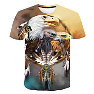 Tryck, Färgblock / 3D / Djur Nattklubb T-shirt - Grundläggande / Streetchic Herr Rund hals Gul XXXL / Kortärmad