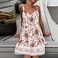 女性用 ビーチ ベーシック ボヘミアン スリム シース ドレス フラワー 幾何学模様 ミニ ストラップ / セクシー