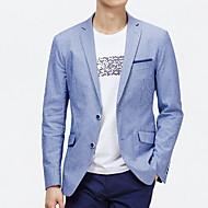 สำหรับผู้ชาย ทุกวัน พื้นฐาน ตก ปกติ เสื้อคลุมสุภาพ, ลายแถบ คอเสื้อเชิ้ต แขนยาว เส้นใยสังเคราะห์ สีฟ้า XL / XXL / XXXL