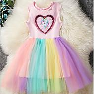 저렴한 -아동 여아 베이직 무지개 패치 워크 민소매 드레스 블러슁 핑크