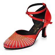 billige Moderne sko-Dame Moderne sko Sateng Høye hæler Rhinsten Slim High Heel Kan spesialtilpasses Dansesko Rød