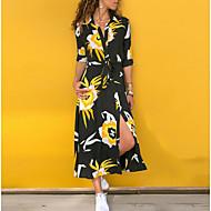 Women's Maxi Swing Dress Floral Fashion Print Shirt Collar Spring White Black Gray XL XXL XXXL