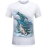 Herrn Tier Baumwolle T-shirt, Rundhalsausschnitt Druck Weiß XXXXL