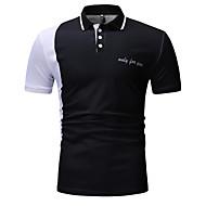 رجالي بولو ستايل نحيل قبعة القميص ألوان متناوبة أسود XL