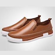 Hombre Mocasines de Confort Cuero Sintético Primavera / Otoño Británico Zapatos de taco bajo y Slip-On Paseo Gris / Amarillo / Borgoña / EU40
