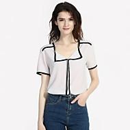 2019 New Arrival Blouses Women's Slim Blouse - Color Block V Neck White L Blusas Mujer Chemise Femme