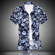 Homens Tamanhos Grandes Camisa Social Estampado, Floral Colarinho Clássico Azul XXXXL / Manga Curta