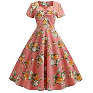 Kadın's Pamuklu Çan Elbise V Yaka Midi