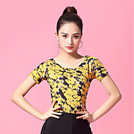 Ballroom Dance Tops Women's Performance Ice Silk Pattern / Print / Ruching Short Sleeve Top