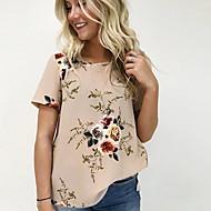 Vékony Női Póló - Virágos, Nyomtatott Szürke XL