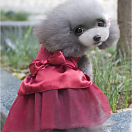 Dogs Dress Dog Clothes Crystal / Rhinestone Red Pink Khaki Poly / Cotton Blend Costume For Spring &  Fall Summer Female Sweet Style Party
