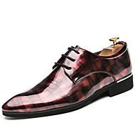 رجالي أحذية الراحة جلد محفوظ للربيع والصيف كاجوال أوكسفورد غير الانزلاق ألوان متناوبة أسود / أحمر / أخضر