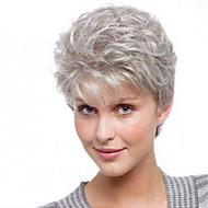 Sentetik Peruklar Doğal düz Stil Asimetrik Saç Kesimi Bonesiz Peruk Koyu Gri Gri Sentetik Saç 4 inç Kadın's Parti Koyu Gri Peruk Şort Doğal Peruk