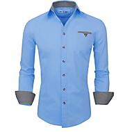 Муж. С принтом Размер ЕС / США - Рубашка Тонкие Однотонный Темно синий XL
